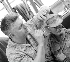 At work on the sculpture